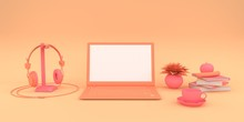 Simple Mock Up Composition With Laptop On Pink Background 3d Render