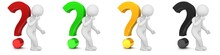 Question Marks Red Green Yellow Golden Black Interrogation Points Punctuation Marks White Thinking Pondering Asking Stick Man Figure Person Isolated On White Background