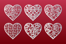 Laser Cut Hearts Set With Pattern Of Roses, Leaves And Flowers. Templates For Interior Design, Layouts Wedding Cards, Invitations, Valentine's Day Cards. Vector Floral Hearts.