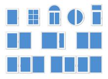 Windows With White Frames. Set Of Different Design Modern Windows.