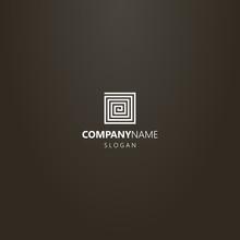 White Logo On A Black Background. Simple Line Art Geometric Vector Single Line Logo Of Square Spiral