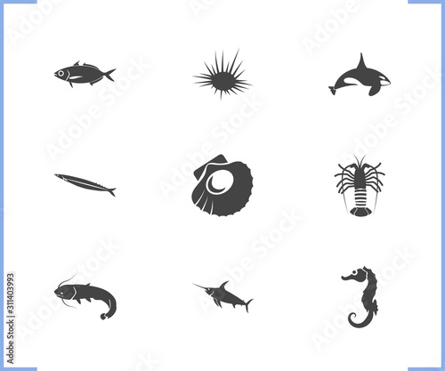 Fauna icon set and scallop with swordfish, scad and sea urchin Tapéta, Fotótapéta