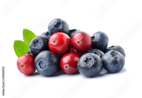 Sweet berry of cranberries and blueberries.