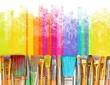 Leinwandbild Motiv Paintbrush art paint creativity craft backgrounds exhibition