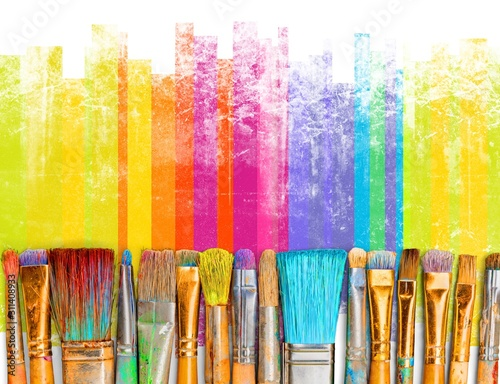 Obraz Paintbrush art paint creativity craft backgrounds exhibition - fototapety do salonu