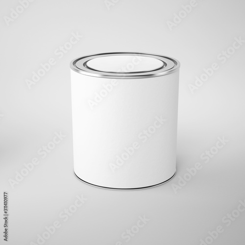 Paint can with a lid on grey background, white label, template for design and advertising Canvas Print