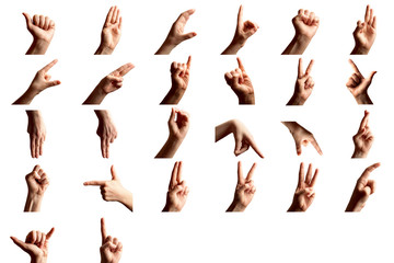 Finger Spelling the Alphabet in American Sign Language (ASL). Set of woman showing alphabet on white background. Sign language