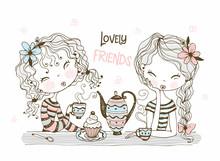 Cute Girlfriends Drink Tea. Ve...