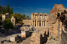 Hadrians Gate Pillars And Library Of Celsus From Latrine Ruins At Ancient Ephesus Turkey
