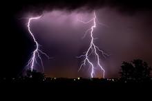 Two Large Strikes Of Lightning