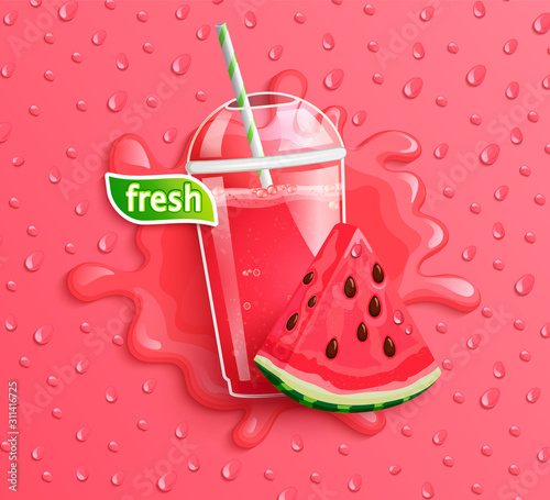 Fresh watermelon juice with slice berry, splash and delicious drops on background for brand, logo,template, label, emblem, packaging, advertising, store. Vector illustration.
