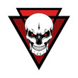 Vector image of a skull on a background of triangles. Image on a white background.