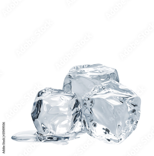 Melting ice cube isolated on white background including clipping path Wall mural