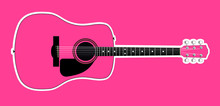 Pink Acoustic Guitar Over Pink...