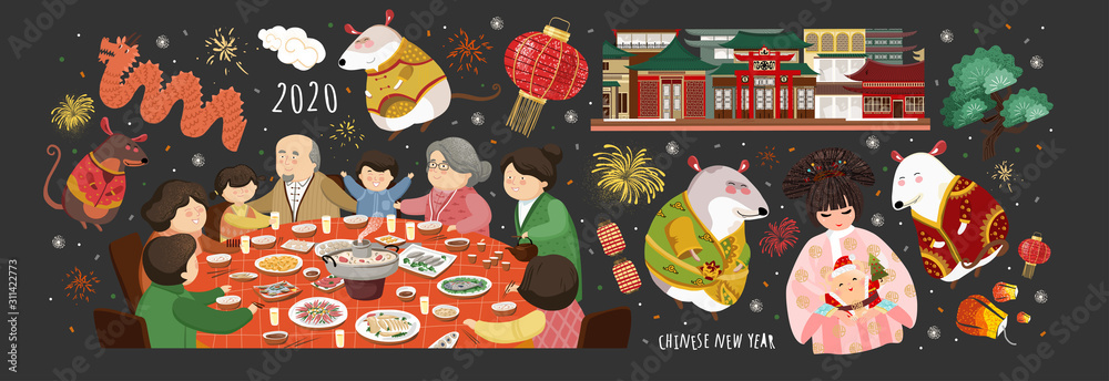 Fototapeta Happy chinese new year! 2020 is the year of the rat. Vector cute illustration of asian mice, korean people,family at the table, house for the holiday. Isolated objects for card, background or poster.