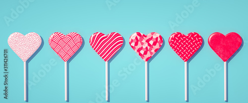 Love is coming concept, Happy Valentines day heart shape lollipops background 3d illustration