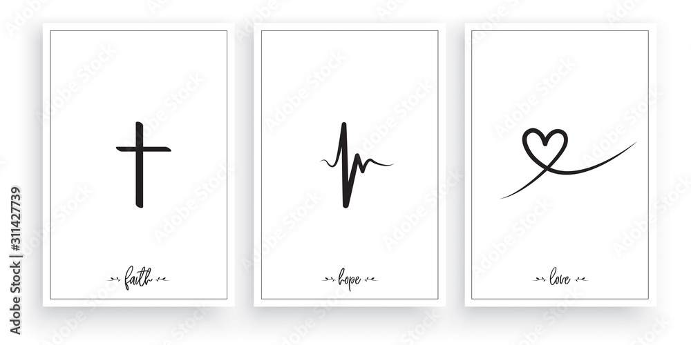 Fototapeta Faith, Hope, Love, vector. Wording design, lettering. Minimalist three pieces poster design. Scandinavian art design. Wall art work, wall decoration. Minimalism background