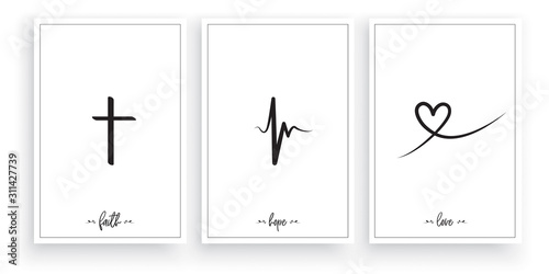 Fotografie, Tablou Faith, Hope, Love, vector