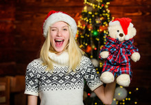 Xmas Mood. Woman Got Teddy Bear Toy Present. Santa Hat Christmas Accessory. Cute Gift. Winter Holidays Celebration. Happy New Year. Christmas Preparation. All She Wants For Christmas. Cheerful Woman