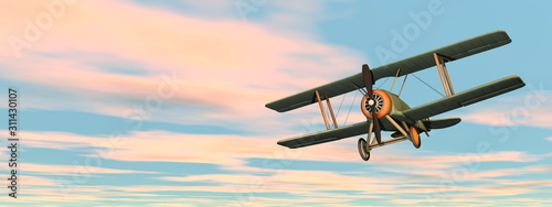 Old retro biplane flying in the sky - 3D render Wallpaper Mural