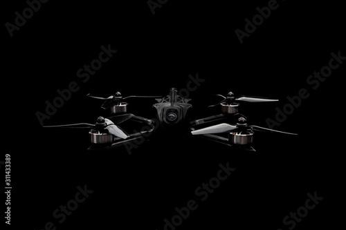 Fotografie, Tablou Modern FPV drone on a black background