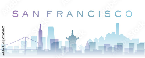 San Francisco Transparent Layers Gradient Landmarks Skyline Wallpaper Mural