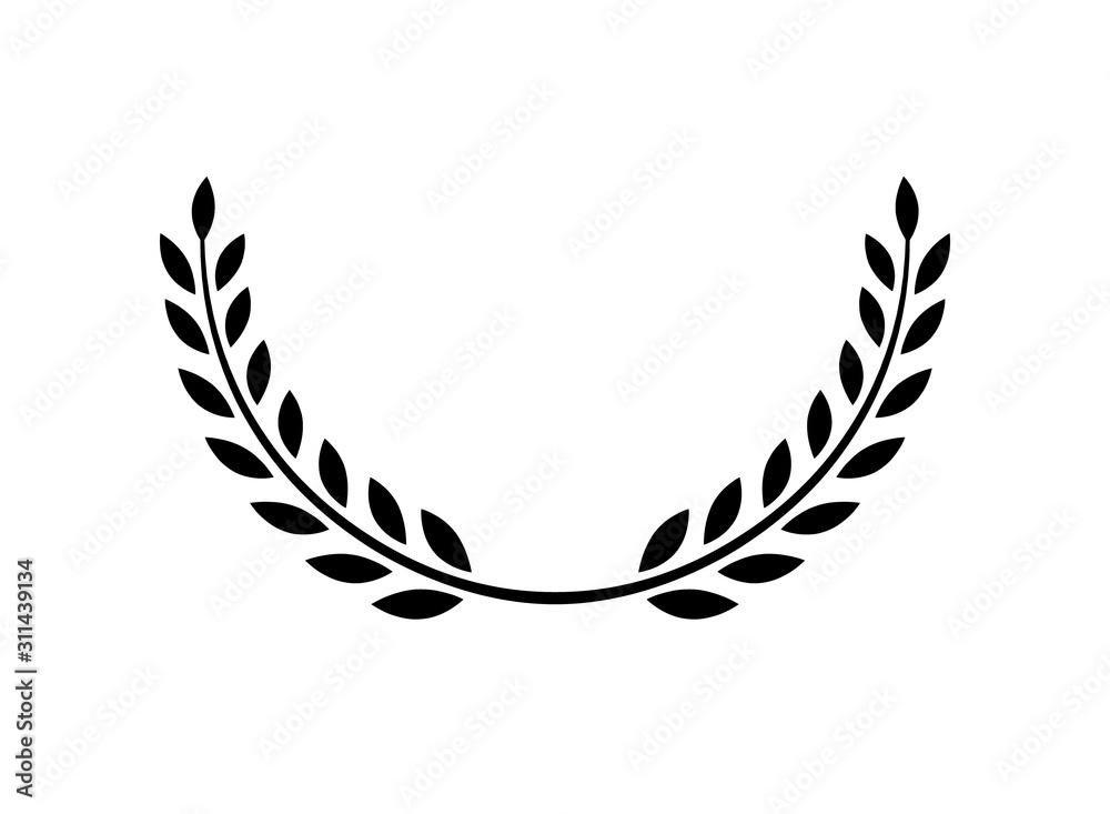 Fototapeta Laurel wreath vector award branch victory icon. Winner laurel wreath vintage leaf emblem