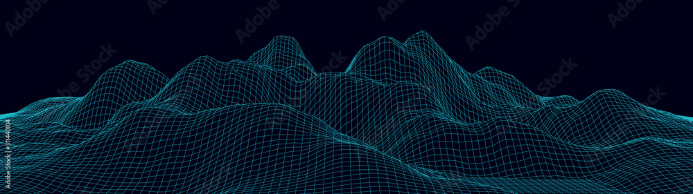 Fototapeta Vector wireframe 3d landscape. Technology grid illustration. Network of connected dots and lines on black background.