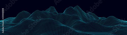 Canvastavla Vector wireframe 3d landscape