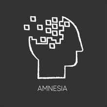 Amnesia Chalk Icon. Memory Loss. Forgetting From Brain Injury. Trouble With Remembering. Korsakoff Syndrome. Mental Disorder. Clinical Psychology. Healthcare. Isolated Vector Chalkboard Illustration