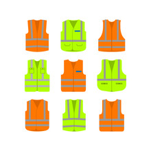 Set Of Security Vest Icon Design. Safety Symbol Isolated On White Background. Vector Illustration