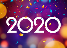 2020 New Year Happy Card Background Party Invitation