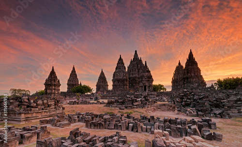 sunset at Prambanan Temple Wallpaper Mural