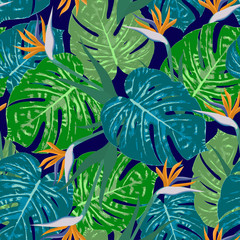 Monstera s bird of paradise flowers vector pattern
