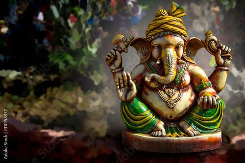 Hindu God Ganesha. Ganesha Idol. Canvas Print
