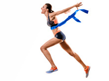 One Young Caucasian Woman Runn...