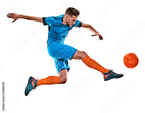 Fotografie, Obraz  one caucasian youg soccer player man standing in studio isolated on white backgr