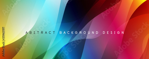 Stampa su Tela Trendy simple fluid color gradient abstract background with dynamic wave line effect