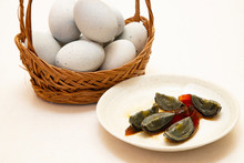 Century Egg,chinese Preserved Food On The White Background