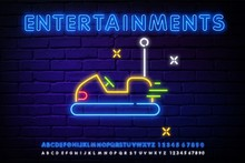 Bumper Cars Line Icon. Amusement Park Sign. Colorful Outline Concept. Amusement Park And Advertisement Design. Night Bright Neon Sign, Light Banner. Vector Illustration In Neon Style.