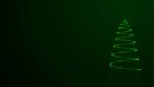 Abstract Green Spiral Christmas Tree, Art Video Illustration.