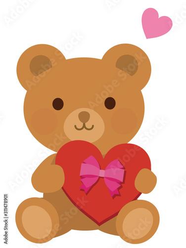 ハート チョコを贈る熊 イラスト #311478901