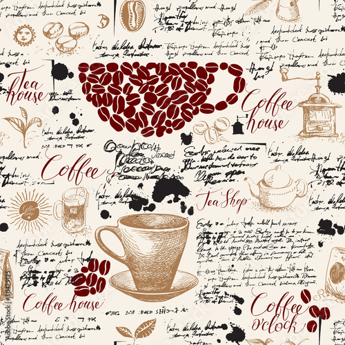Obrazy z napisami  vector-seamless-pattern-on-tea-and-coffee-theme-with-drawings-spots-and-illegible-handwritten