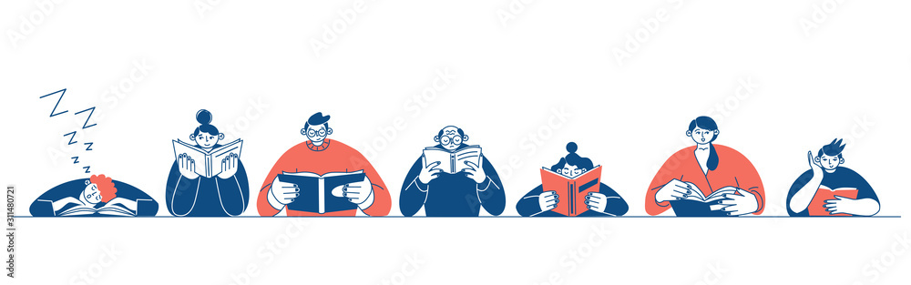 Fototapeta The concept of reading day. People hold a book in their hands. Human character on white background. Flat design style minimal vector illustration.