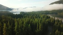 Drone Shot Over A Lake, With C...