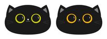 Black Cat Round Head Face Icon...