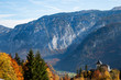 Gazing over the rugged mountains surrounding Hallstatt in Austria on a clear Autumn day.