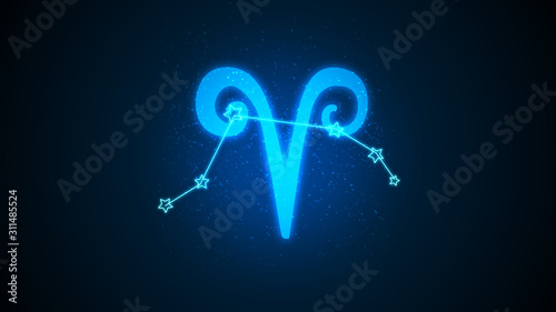Photo Aries zodiac constellation icons signs with starson blue background, Astrology s