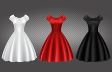 Retro Woman Dress In White, Red And Black Color For Wedding Or Party. Vector Mock Up Of Female Cocktail Gown With Long Skirt, Round Neckline And Short Sleeves Isolated On Transparent Background