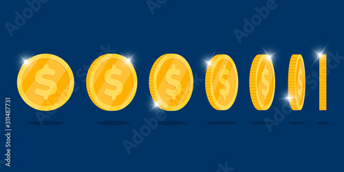 Fotografía Gold 3d coin turn around different position set for game or apps animation